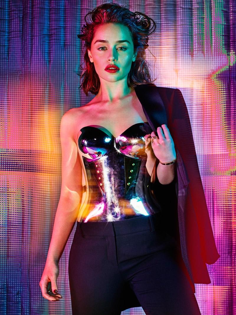 Emilia Clarke poses for Hunter & Gatti in the feature