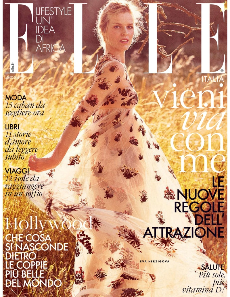 Eva Herzigova on ELLE Italy August 2015 cover