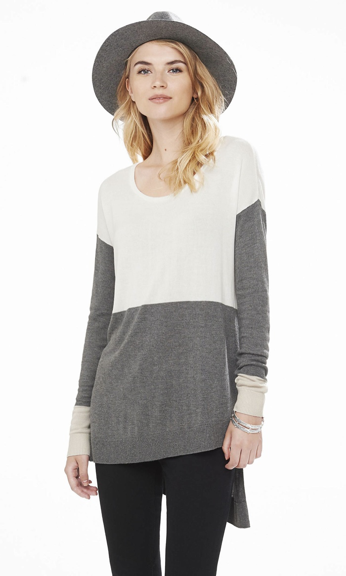 Express Color-Block Asymmetrical-Hem Tunic Sweater available for $59.90