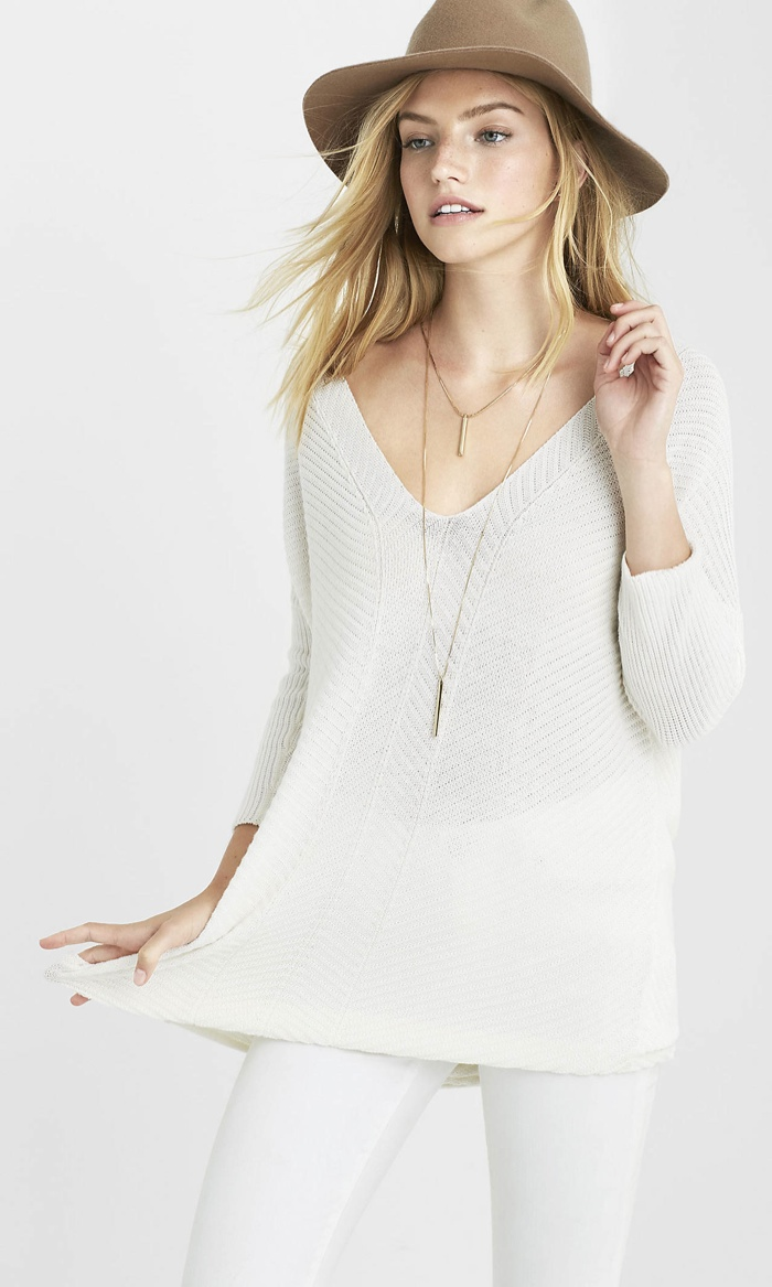 Express Hint of Cashmere V-Neck Tunic Sweater available for $49.90