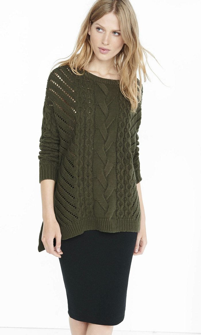 Express Oversized Open Cable Knit Tunic Sweater available for $69.90
