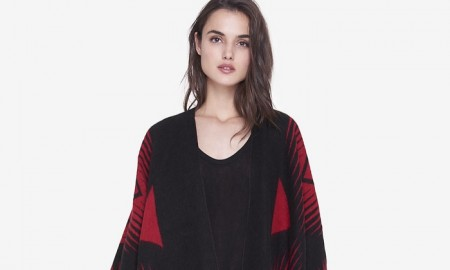 Express Southwestern Fringe Blanket / Poncho Cover-up