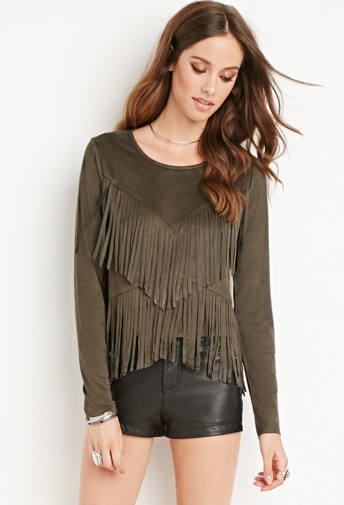 Forever 21 Faux Suede Fringe Top available for $22.90