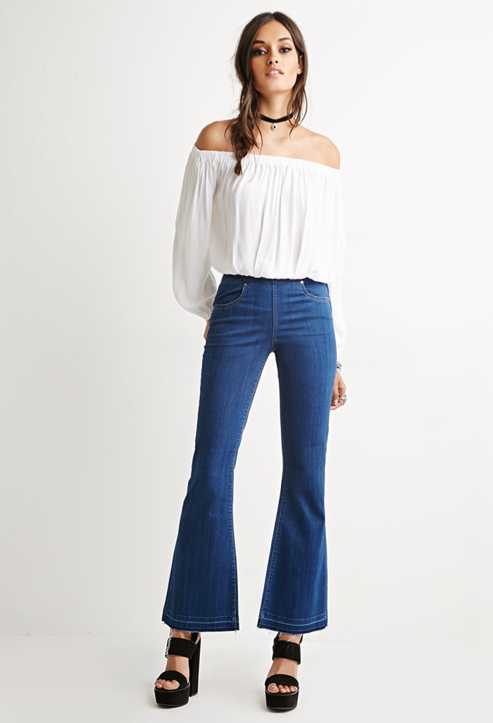 Forever 21 Fray Flared Jeans available for $27.90