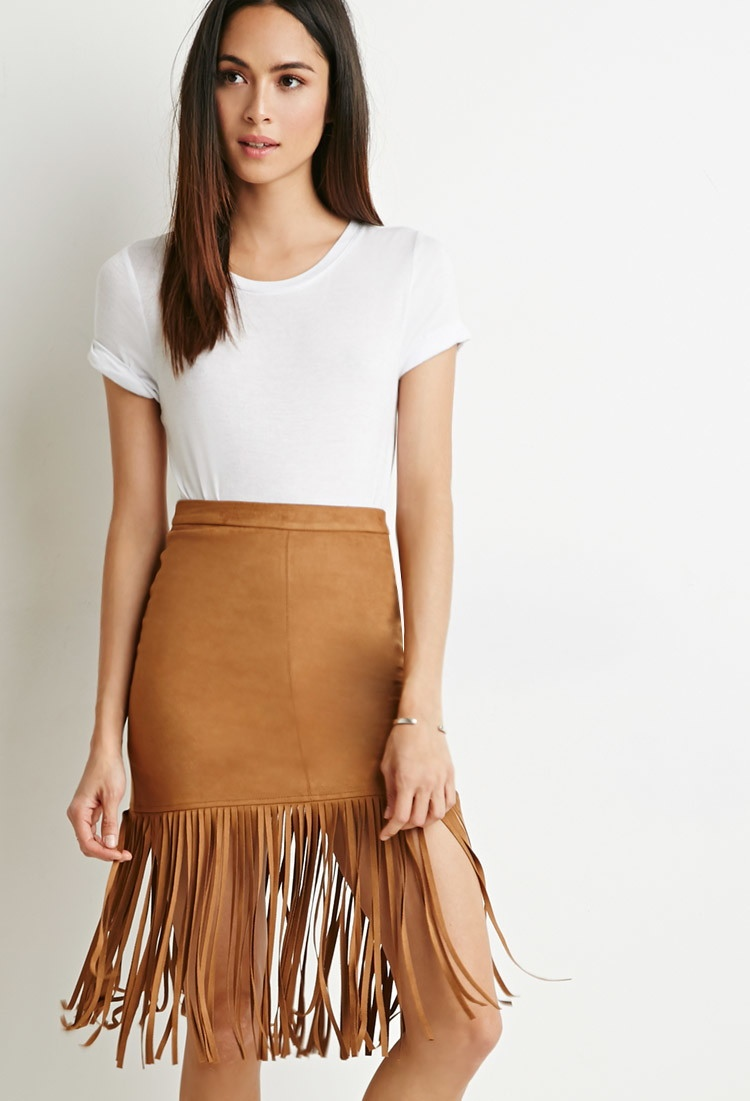 Forever 21 Fringed Faux Suede Skirt available for $24.90