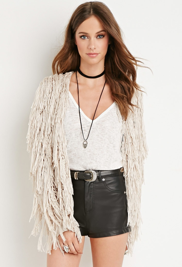 Forever 21 Fringed Open Knit Cardigan available for #32.90
