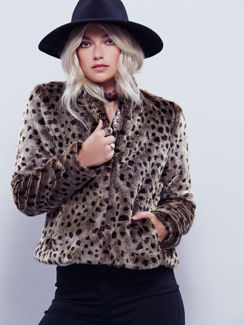 Free People Faux Fur Leopard Print Coat