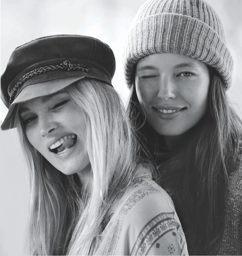 Elsa and Emily are all smiles in fall hat looks