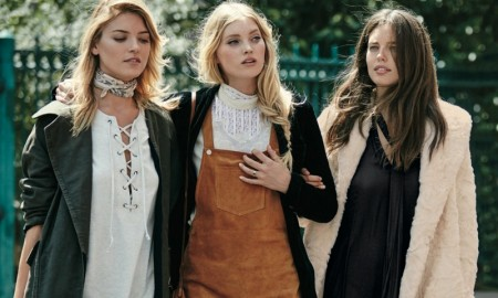 Martha Hunt, Elsa Hosk and Emily DiDonato pose for Free People's September 2015 campaign