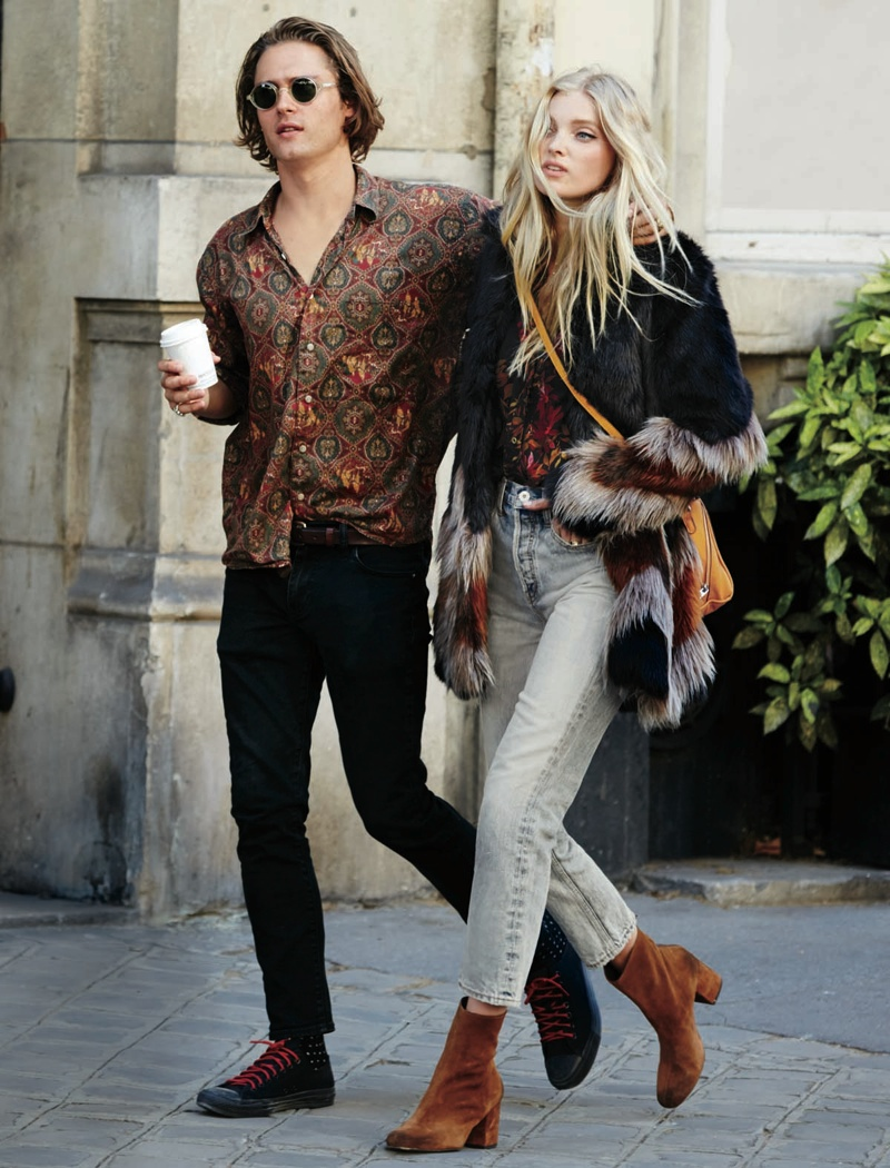 Elsa models high-waist jeans and a chevron faux fur coat from Free People