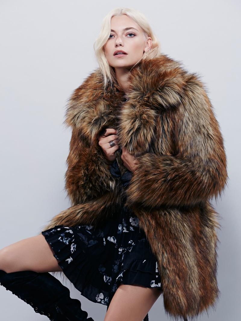 Free People Shaggy Faux Fur Fox Coat