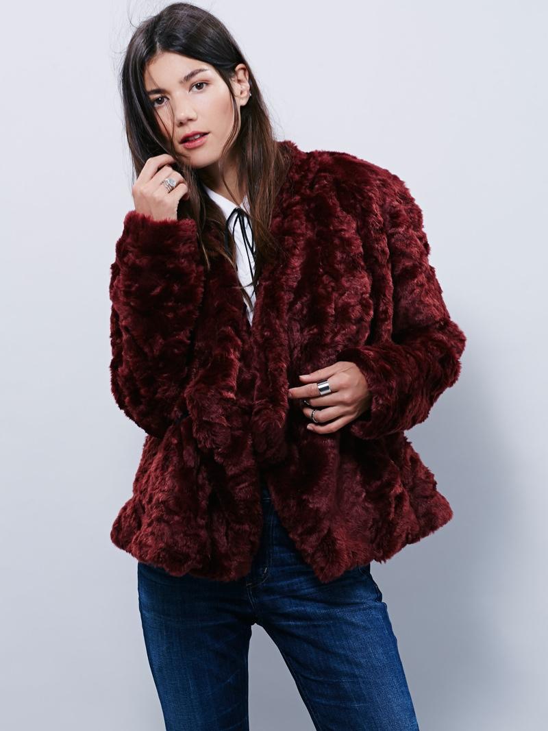 Free People Swingy Faux Fur Coat in Oxblood