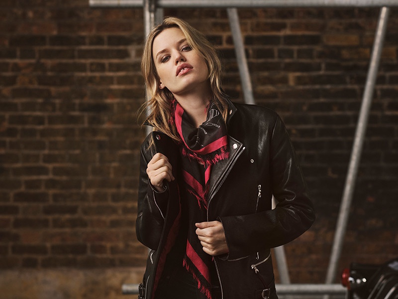 Georgia May Jagger models her Mulberry leather jacket and scarf designs