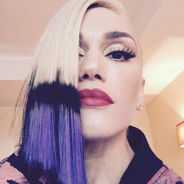 Gwen Stefani shared a purple dip-dyed hairstyle with her Instagram followers