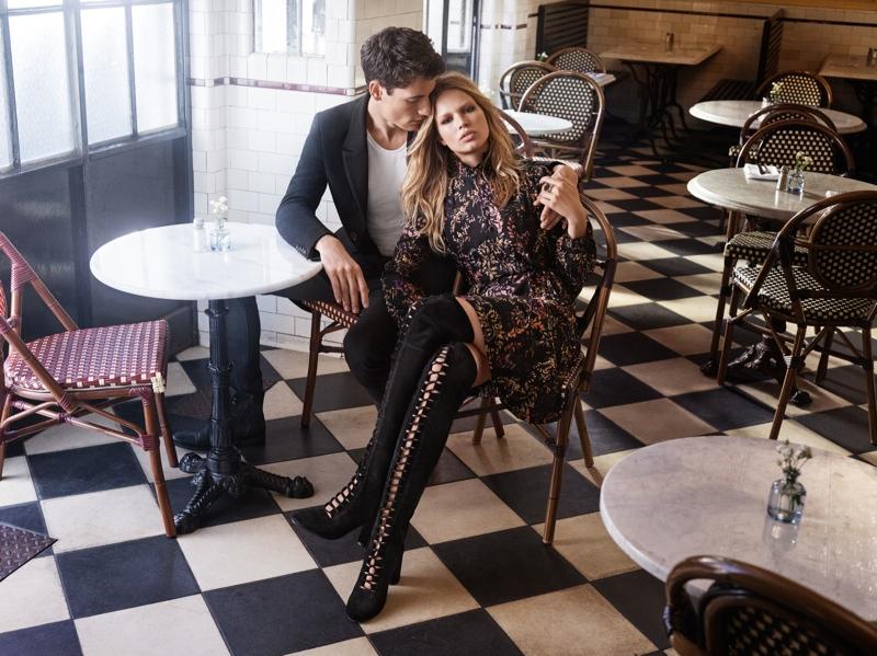 Anna poses alongside male model Nicolas Ripoll