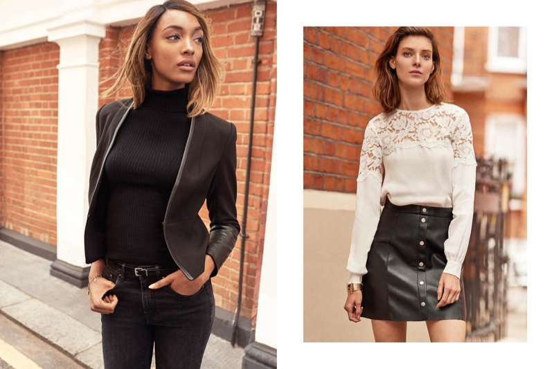 Jourdan wears a fitted jacket while Kati models a mini skirt and lace blouse