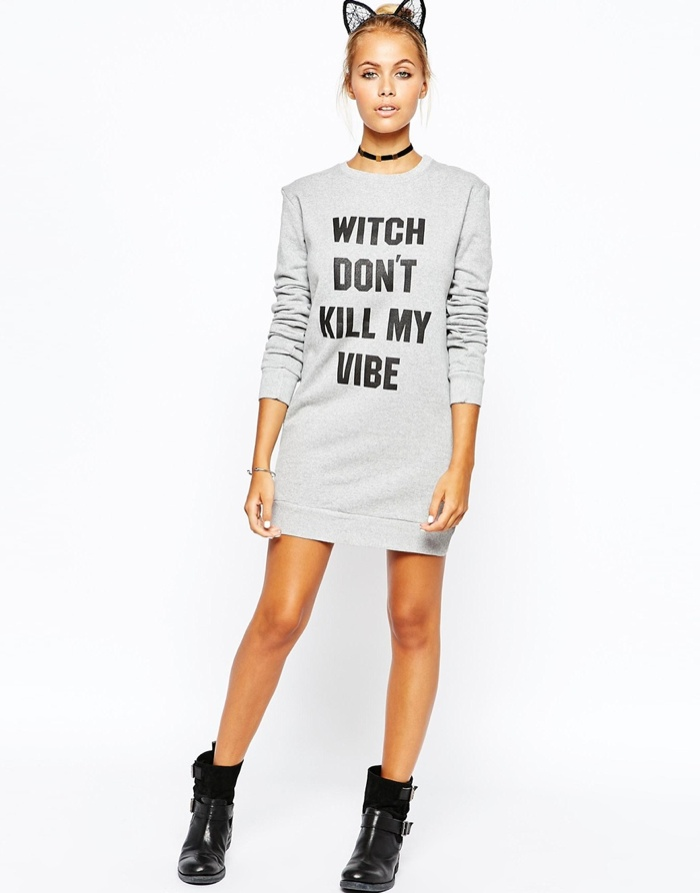 Adolescent Clothing Halloween Sweater Dress With Witch Don't Kill My Vibe Print available for $63.00
