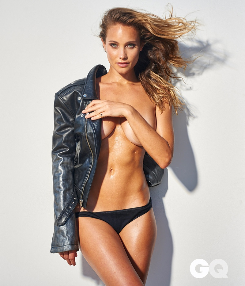 Hannah pairs her leather jacket with black underwear