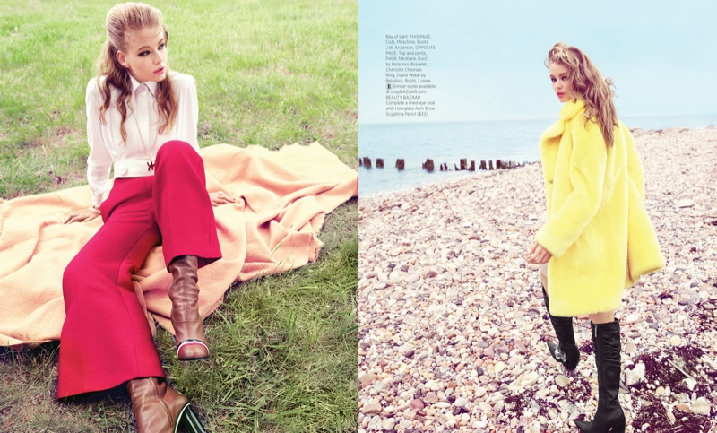 The model wears 1960s inspired looks with bright colors