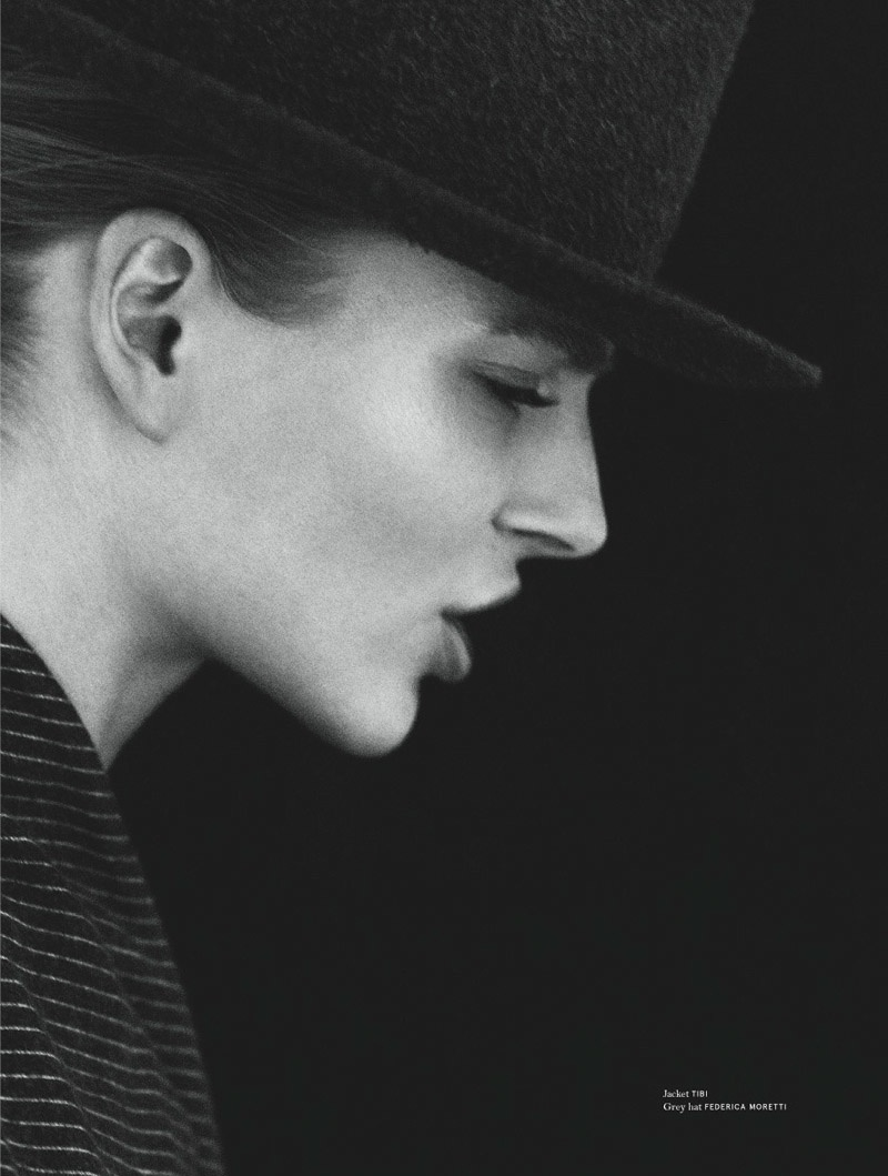 HATS OFF: Ieva models hat from Federica Moretti with Tibi jacket