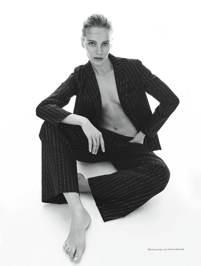 SUIT UP: Ieva models a pinstripe suit