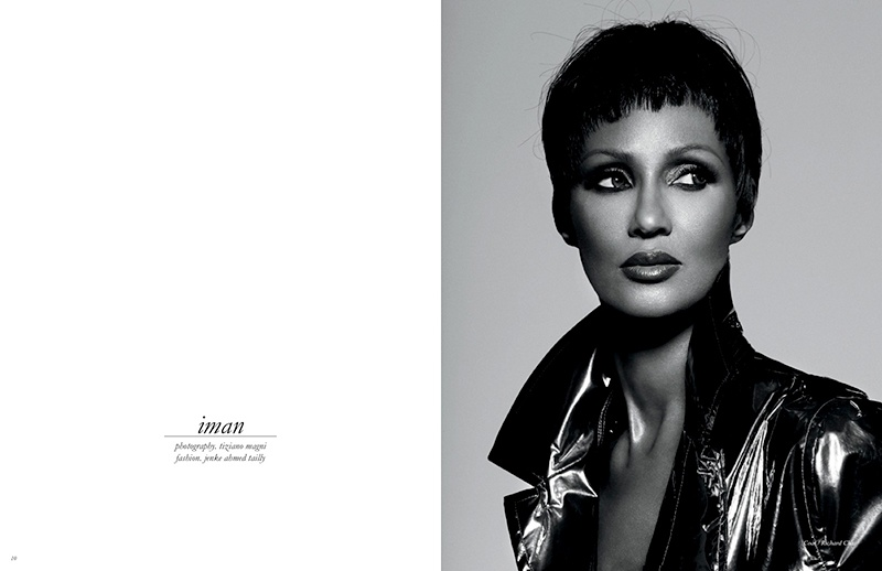 Iman models a short hairstyle in the editorial