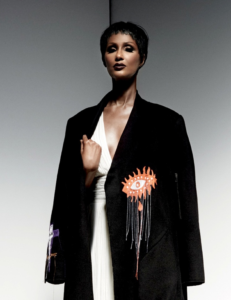 The supermodel poses in a Siki Im coat and Sophie Theallet dress