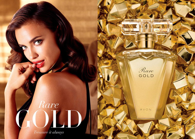 Irina Shayk for Avon Rare Gold fragrance campaign
