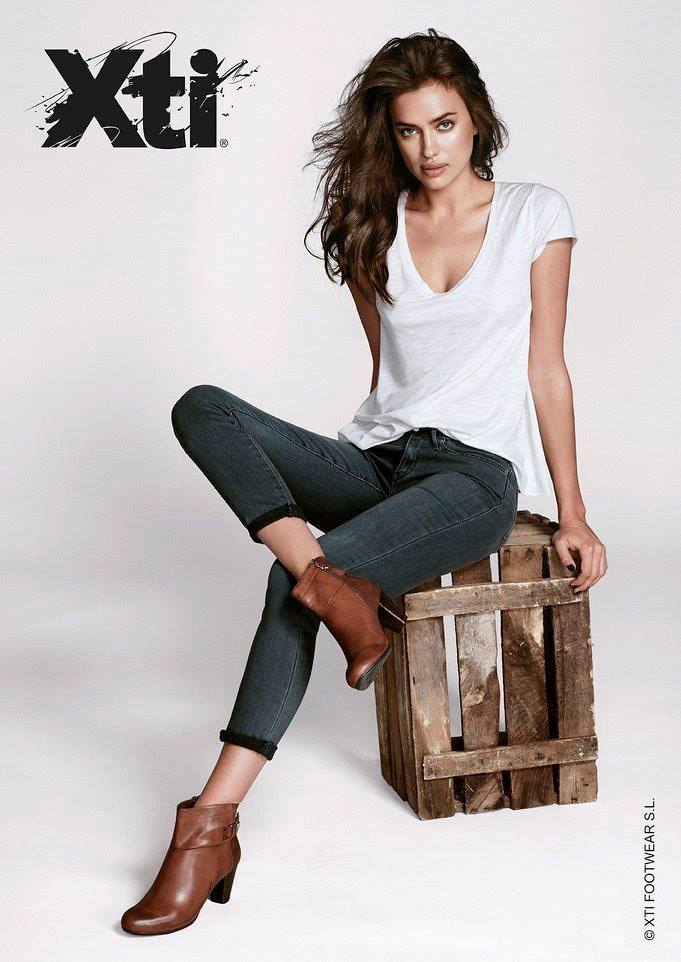 CASUAL LEANINGS: Irina models a denim look to go with her bootie