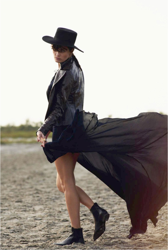 The top model wears western inspired style for the editorial