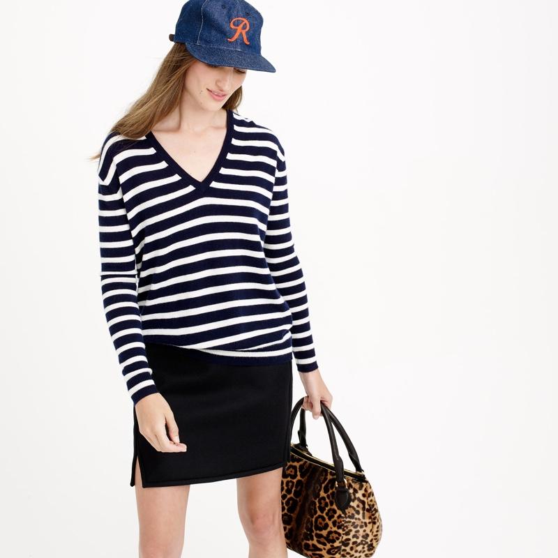 J. Crew Cashmere Boyfriend Sweater in Stripes