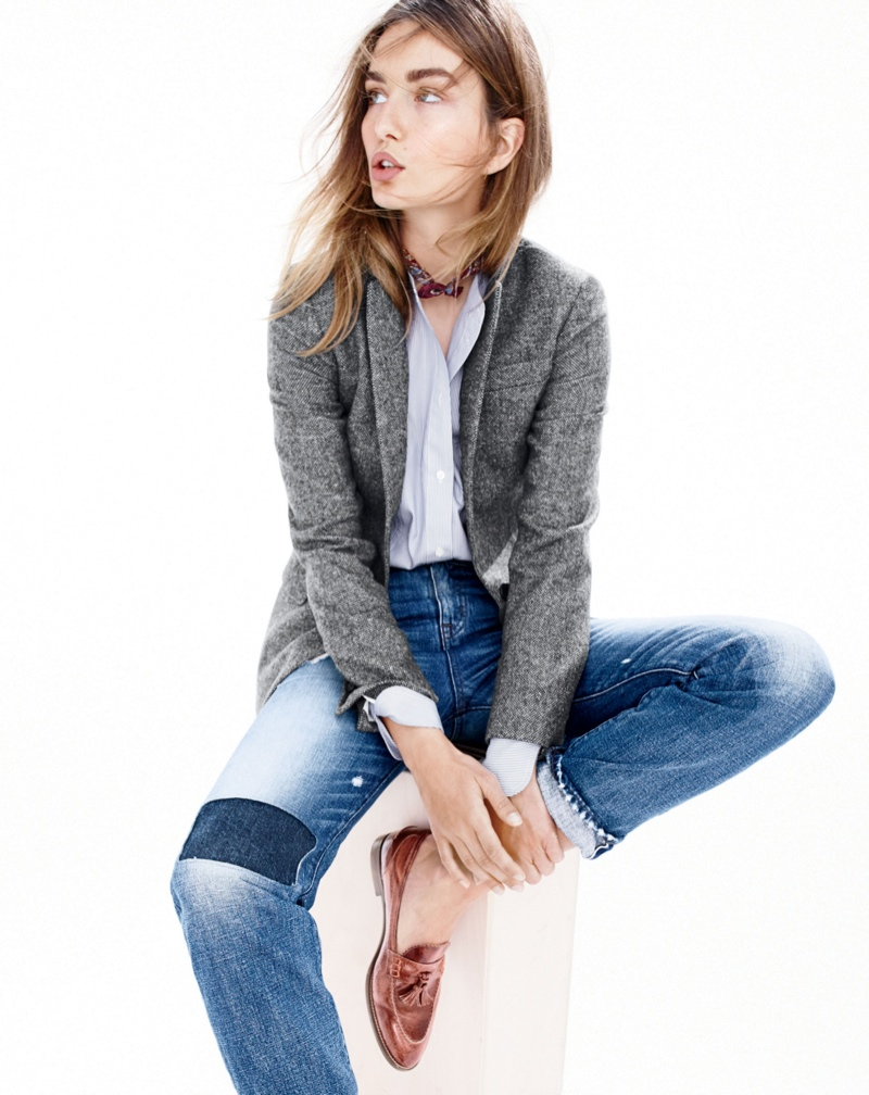 Andreea Diaconu for J. Crew fall 2015 style guide