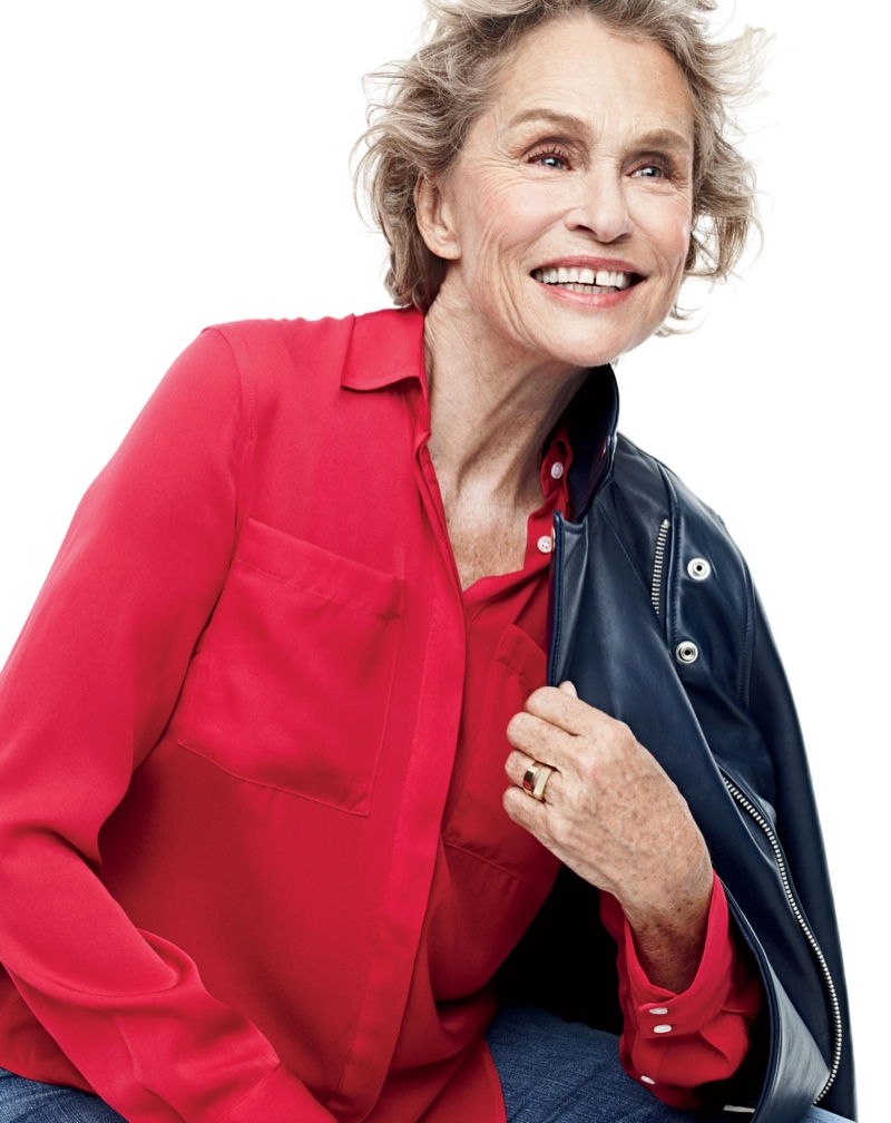 Lauren Hutton for J. Crew's fall 2015 style guide