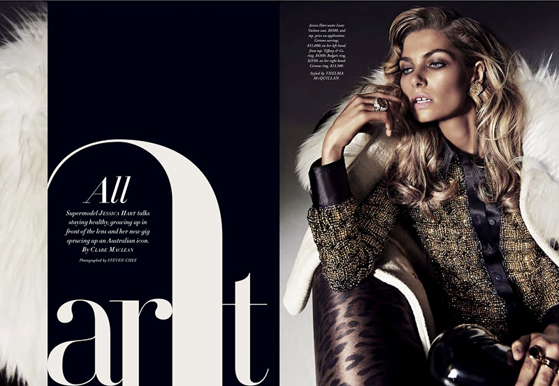 Jessica Hart stars in Harper's Bazaar Australia's October issue
