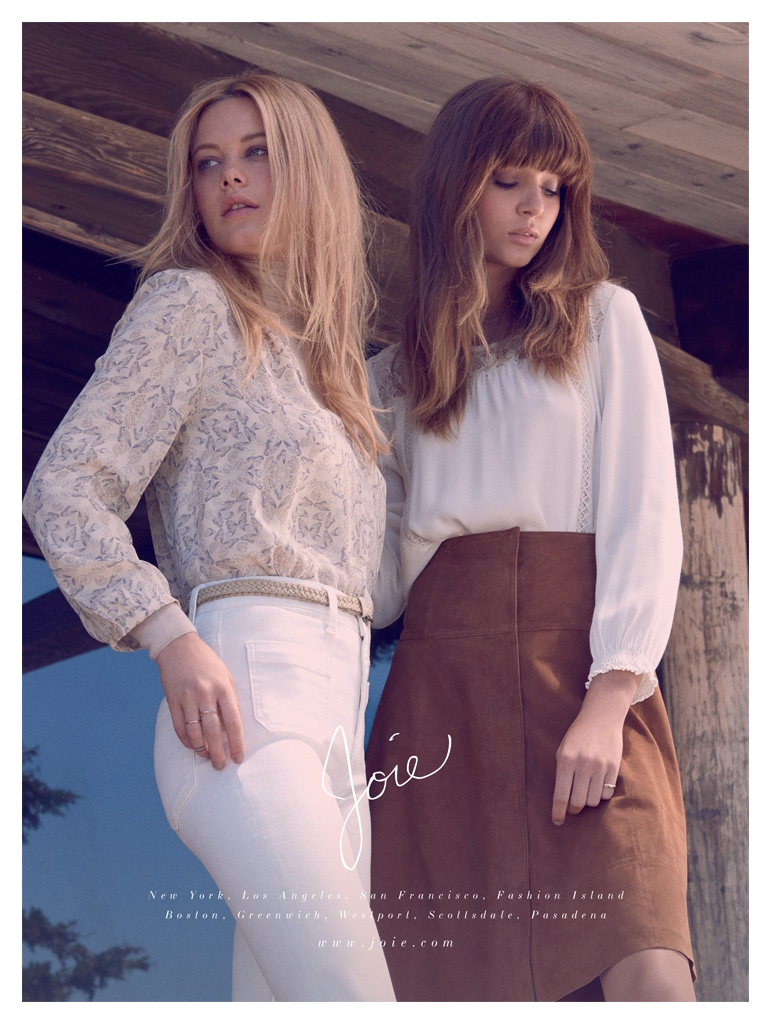 Camille Rowe and Josephine Skriver pose in Joie's fall-winter 2015 campaign