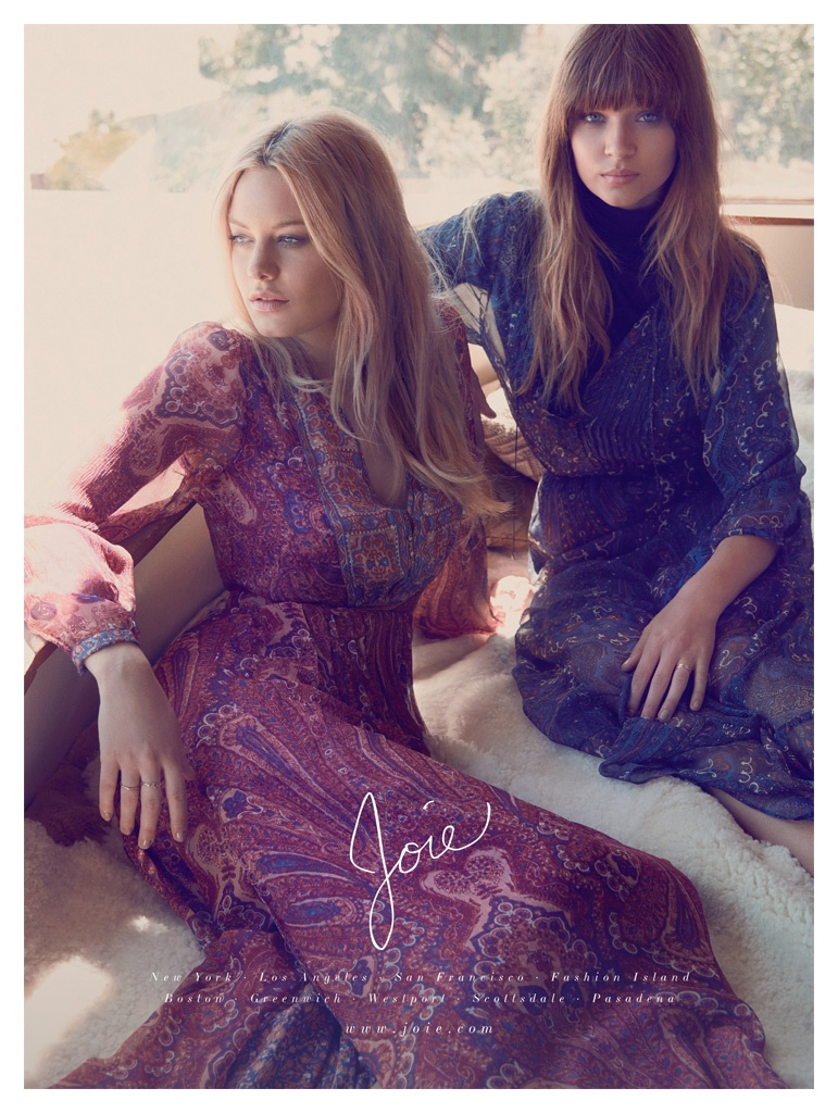 Camille and Josephine model printed dresses from Joie's fall collection