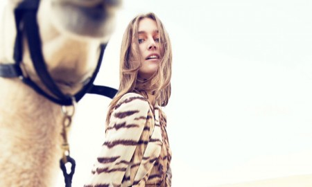 The model poses in a Roberto Cavalli look with animal print