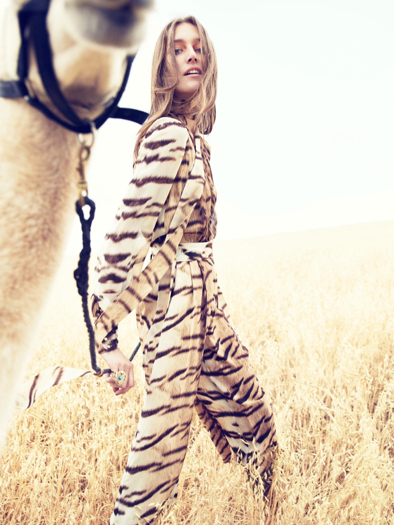 Josephine Le Tutour Models Folk Style for Neiman Marcus
