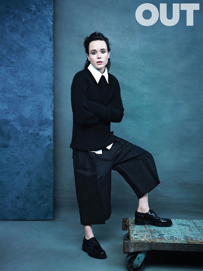 Ellen Page wears cropped pants and slicked back hairstyle