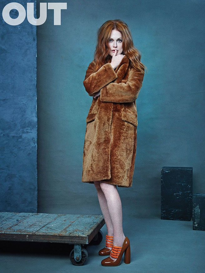 Julianne Moore wears fur coat in OUT Magazine