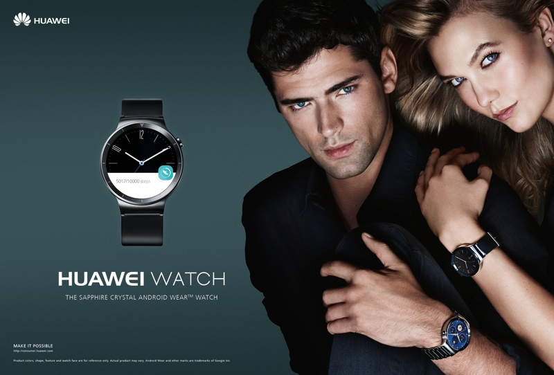 Karlie poses alongside male model Sean O'pry for Huawei Watch advertisement