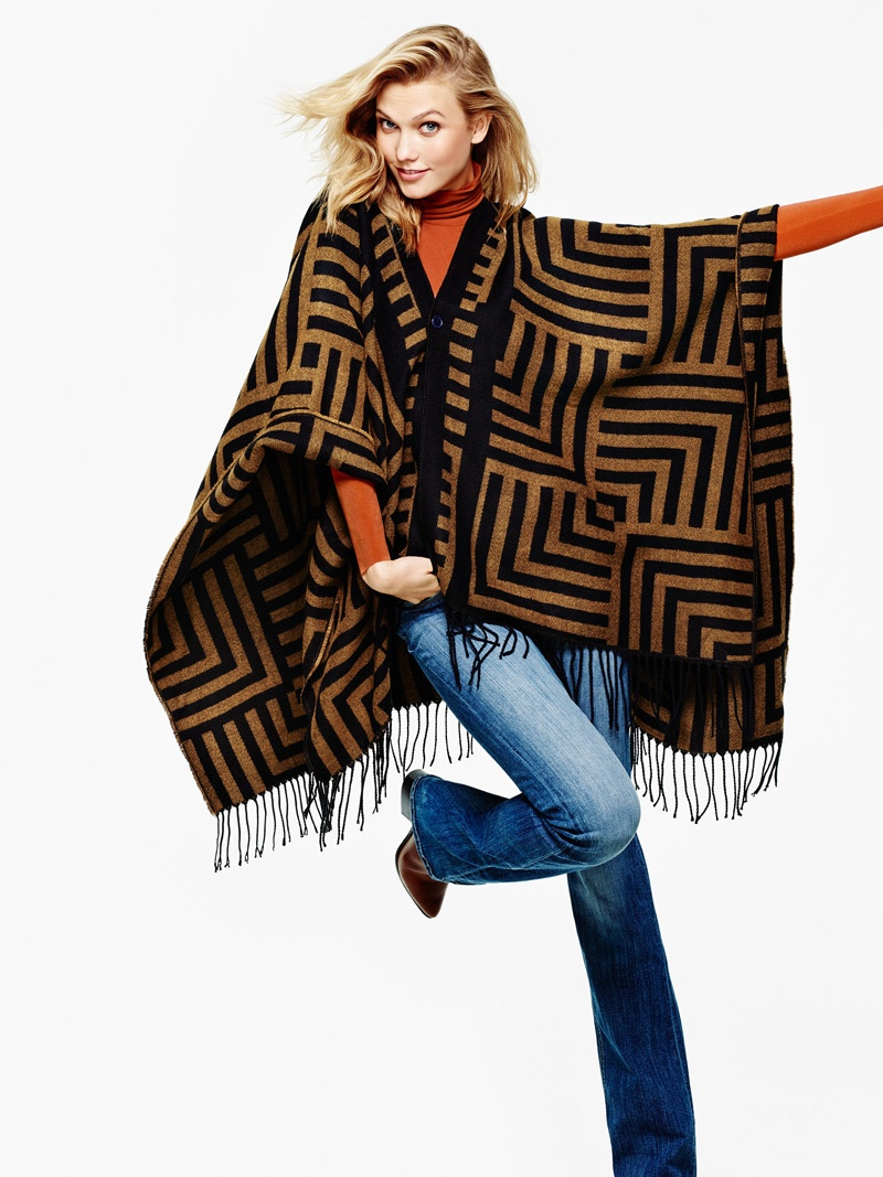 Karlie models a cape poncho from Lindex