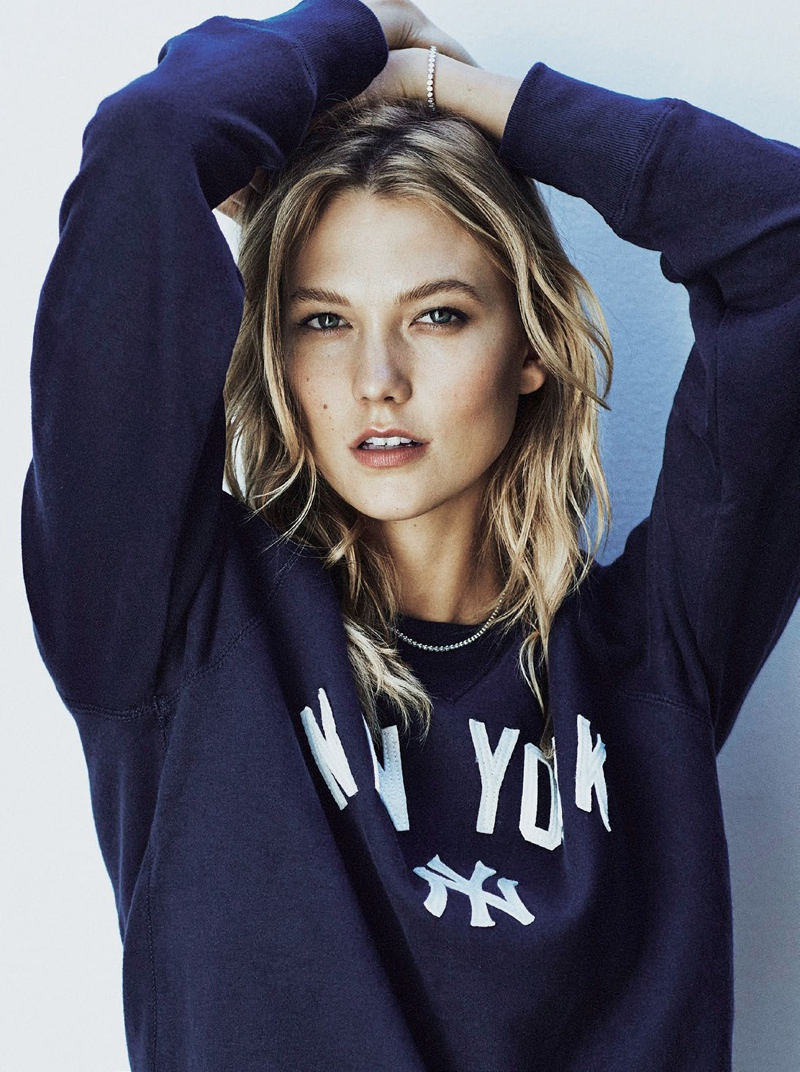 Karlie models New York sweater