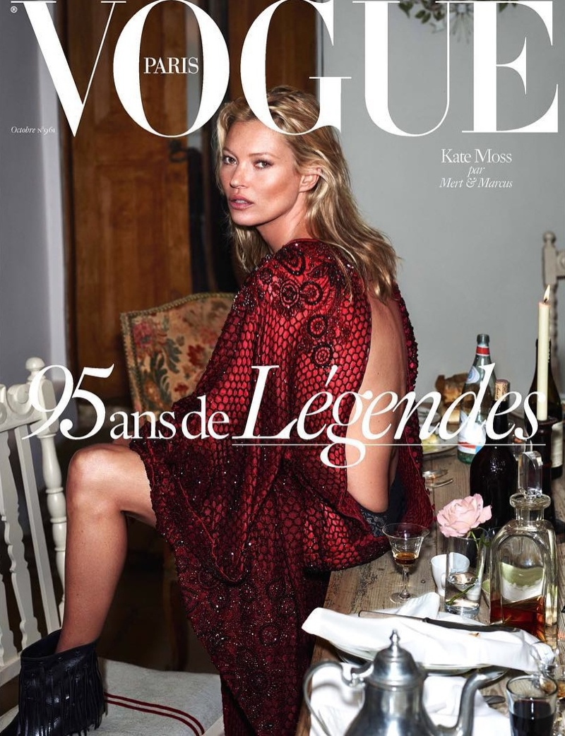 Kate Moss on Vogue Paris October 2015 cover by Mert & Marcus
