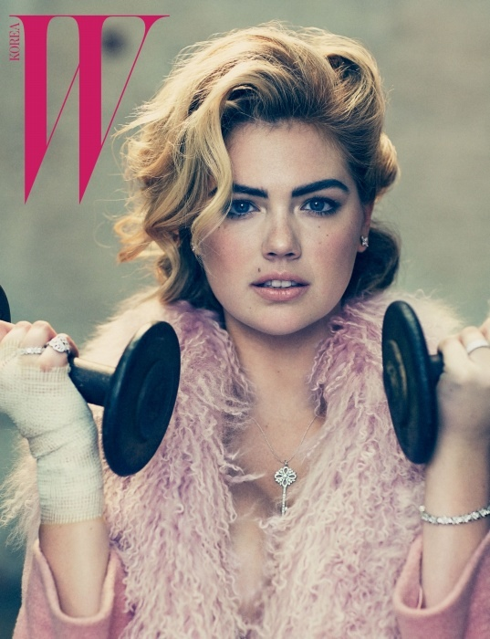 Kate Upton pumps some iron for W Korea