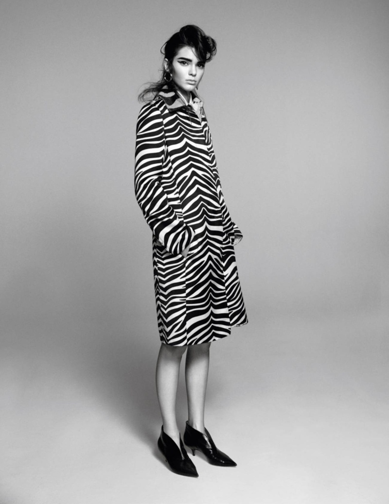 The model poses in gamine inspired fall looks