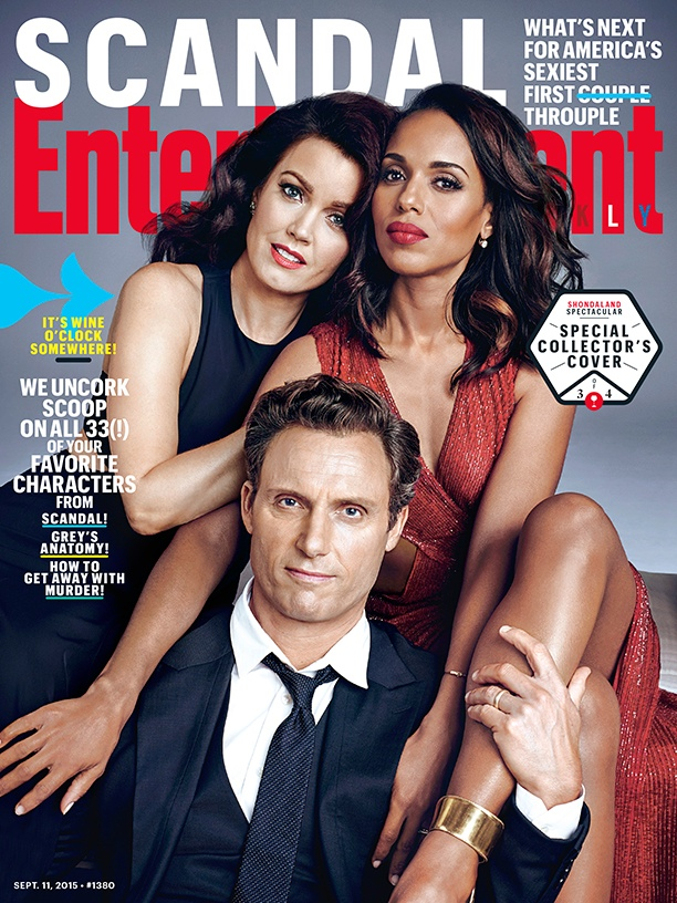 Bellamy Young, Kerry Washington and Tony Goldwyn on Entertainment Weekly September 11, 2015 cover