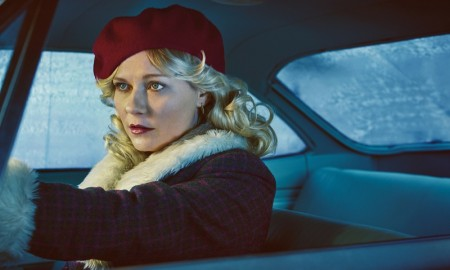 Kirsten Dunst wears a beret and 70s style coat in Fargo promotional image.