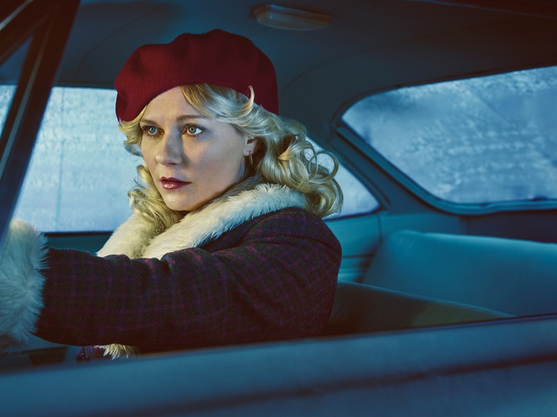 Kirsten Dunst wears a beret and 70s style coat in Fargo promotional image. Photo: FX