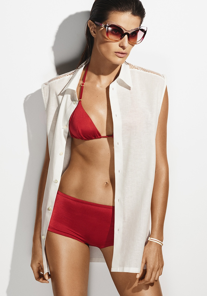 Isabeli wears red la perla bikini top and bottoms